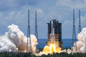 The Tianwen-1 Mars probe lifts off from the Wenchang Space Launch Centre in southern China's Hainan Province.