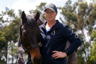 "Kirsty Mcmahon in Warrnambool with her horse Waltzes. ""I had a connection with Cat which is very rare."""