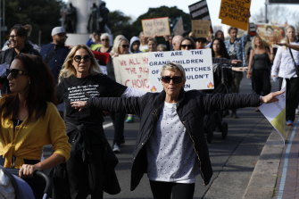 Protesters in Sydney's Hyde Park on Saturday