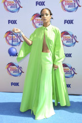 Actress Megalyn Echikunwoke embodies the neon trend at last week's Teen Choice Awards.