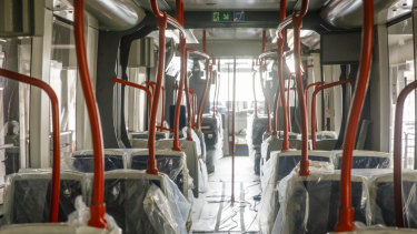 Inside on of Canberra's new trams.