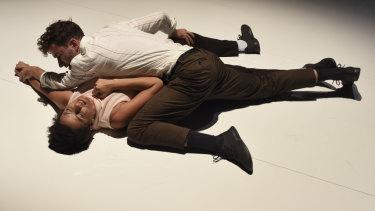 Percussionist Claire Edwardes and dancer Richard Cilli in a scene from Recital. Photo:Heidrun Lohr