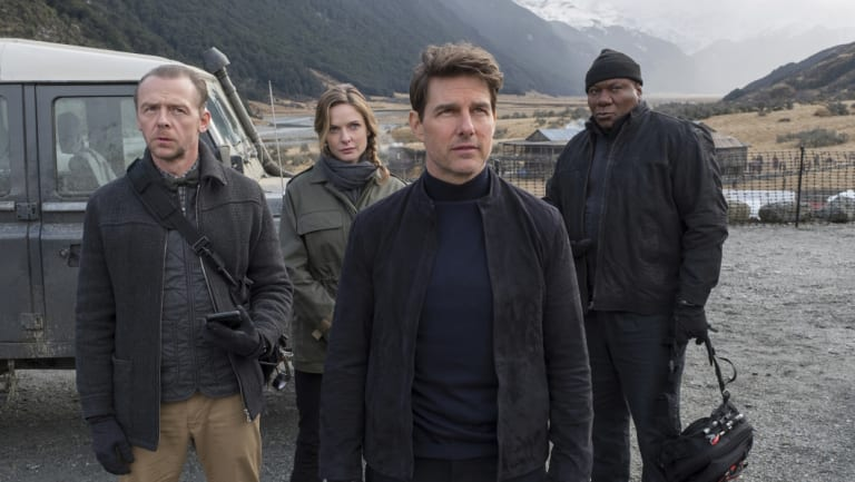 From left, Simon Pegg, Rebecca Ferguson, Tom Cruise and Ving Rhames in <i>Mission: Impossible - Fallout.</i>