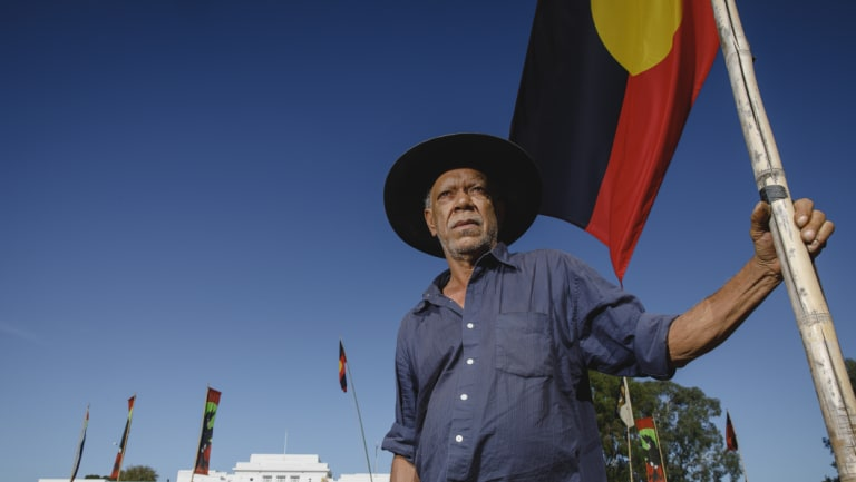 """Frontier Wars Story Camp convener Chris """"Peltherre"""" Tomlins wants to see people of all races come to the Aboriginal Tent Embassy."""