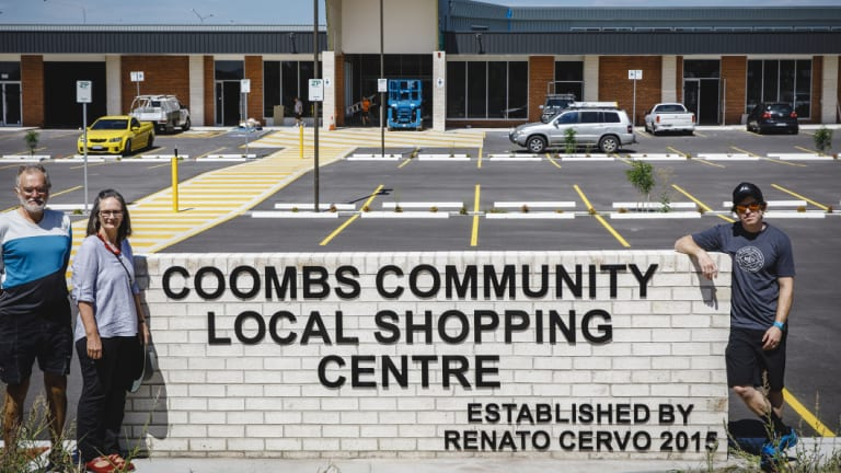 John Hutchison, Alison Hutchison, and Damian Breach feel that the Coombs community's need for a supermarket has not been adequately addressed by the ACT government.