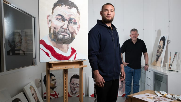 Roosters player Jared Waerea-Hargreaves with artist Harley Oliver and his portrait.