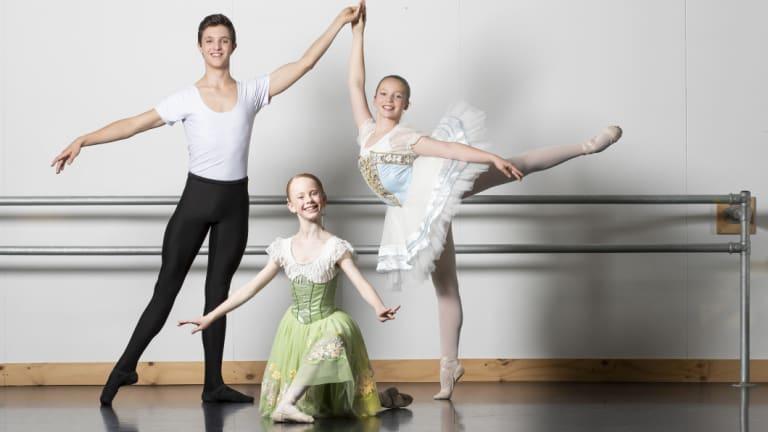 National Capital Ballet School students Ky Trotter, Soraya Sullivan, and Abbey Davidson.