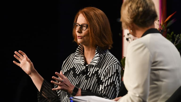 Former Australian prime minister Julia Gillard with Kristina Keneally at the Pyrmont Theatre ICC on Wednesday.