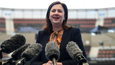 Queensland Premier Annastacia Palaszczuk speaks at a press conference at the Pat Rafter Arena in Brisbane to acknowledge Ash Barty's new world number one ranking.