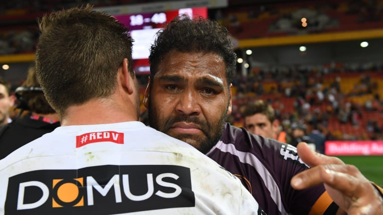 Retiring star: An emotional Sam Thaiday after Sunday's elimination final in Brisbane.