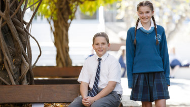 Year 7 St Mary McKillop College students Luca Hrstic and Katie Williams.
