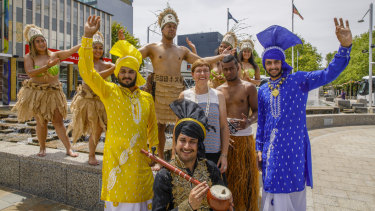 Members of the United Nesian Movement and Varis Punjab De dance groups help Minister for Multicultural Affairs Rachel Stephen-Smith launch the 2018 National Multicultural Festival.