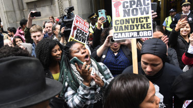 Celebrations outside the court after a jury convicts police officer Jason Van Dyke.