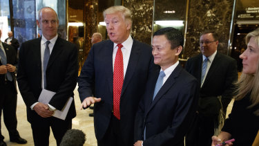 Then president-elect Donald Trump  with Alibaba founder Jack Ma in New York in January 2017.