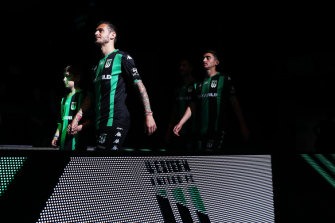 Western United players walk on to stage during the A-League 2019-20 season launch.