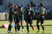 Steven Lustica celebrates with Western United teammates after scoring the decisive goal against Perth Glory on Saturday.