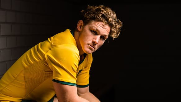 Golden boy: Hooper's pride in Wallabies jumper shines through