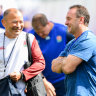 Eddie Jones and Ricky Stuart enjoy a laugh in England camp