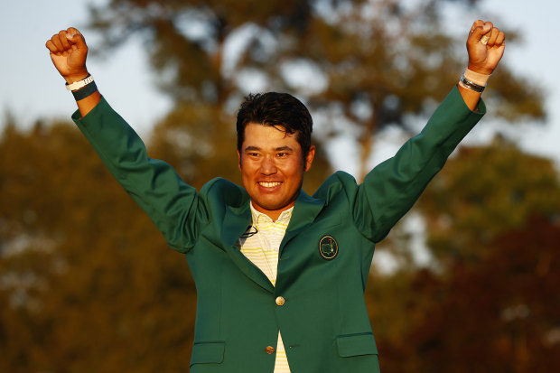 AUGUSTA, GEORGIA - APRIL 11: Hideki Matsuyama of Japan celebrates during the Green Jacket Ceremony after winning the Masters at Augusta National Golf Club on April 11, 2021 in Augusta, Georgia. (Photo by Jared C. Tilton/Getty Images)