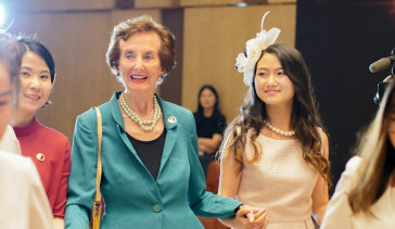 "Now a great-grandmother, Dally-Watkins has spent the past five years teaching Western etiquette in China. ""Even if I don't feel 100 per cent, I pretend I am,"" she says."