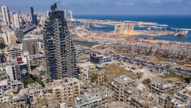 An aerial view of heavily damaged buildings near the blast site.