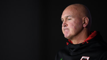 Dragons coach Paul McGregor speaks during a press conference following the Round 4 loss to the Bulldogs.