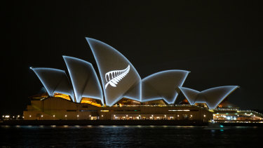 The silver fern of New Zealand was projected on to the sails of the Sydney Opera House.