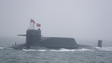 A new type 094A Jin-class nuclear submarine Long March 10 of the Chinese People's Liberation Army (PLA) Navy participates in a naval parade in 2019.