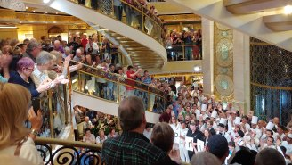 Passengers and crew members on board the Ruby Princess.