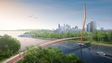 A new pedestrian bridge has been planned, linking Heirisson Island to Victoria Park.