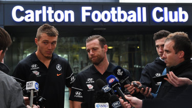 Carlton co-captain Sam Docherty (centre) says he called Brendon Bolton to thank him for what he did at Carlton.