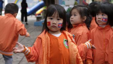 Vietnam-Korea Friendship Kindergarten children get ready for a high-profile visitor.