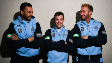 Middle man: Luke Keary with Ryan James and Matt Prior in the Blues squad in 2018.