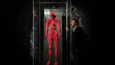 President and CEO of Imagine Exhibitions, Tom Zaller, at his Real Bodies exhibition in the Byron Kennedy Hall in the Entertainment Quarter, Moore Park, Sydney.