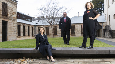 Rachel Griffiths, NSW Arts Minister Don Harwin and Leah Purcell at the launch of the scheme to encourage more women directors in television.