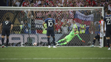 Antoine Griezmann's penalty beats Croatia's keeper Danijel Subasic.