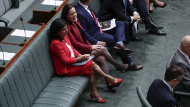 Liberal MP Julia Banks and Minister for Jobs, Industrial Relations and Women Kelly O'Dwyer during a division on  Monday.