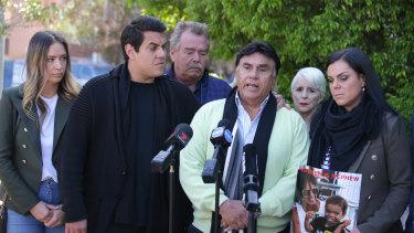 The Vieira family speak to the media on Thursday.