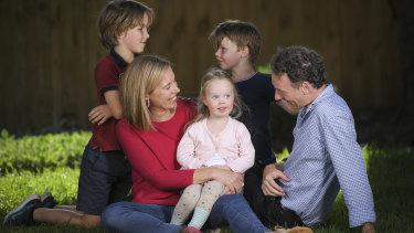 Elizabeth Callinan and Brett Murphy with their children Greta, Rory and Jasper.