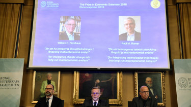 William Nordhaus was named for integrating climate change into long term macroeconomic analysis and Paul Romer was awarded for factoring technological innovation into macroeconomics.