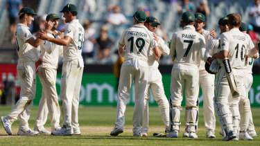 Australia celebrate their victory in the Boxing Day Test.