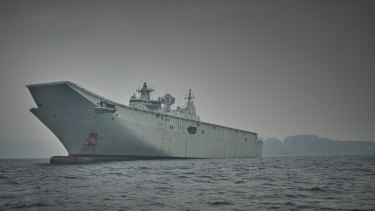 HMAS Adelaide - which has carried engineers, medics and reservists - has been anchored off NSW's far south since January 4 to help in relief and evacuation operations in communities between Eden and Bega.