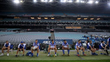 A general view of the Bulldogs bench during the round two NRL match between the Canterbury-Bankstown Bulldogs and North Queensland Cowboys at ANZ Stadium.