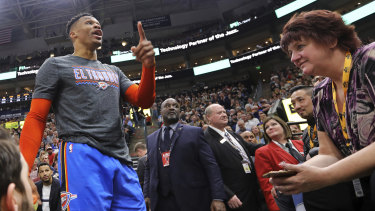 Russell Westbrook, then with the Oklahoma City, gets into a heated verbal altercation with fans at Vivint Smart Home Arena on March 11.