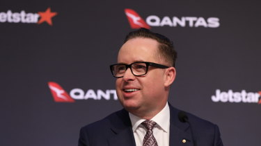 Qantas CEO Alan Joyce, pictured on Thursday, said state borders should be permanently open by April.