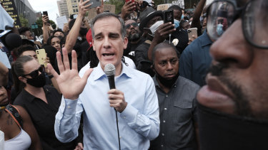 Los Angeles mayor Eric Garcetti has committed to cutting the LAPD's budget.