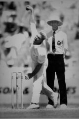 Shane Warne bowling at the MCG today. December 30, 1992.