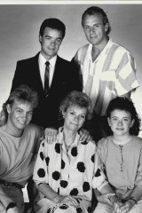 One of the oldest families on Neighbours, the Robinson family: Paul (Stefan Dennis), from back to front, Jim (Alan Dale); Scott (Jason Donovan), Helen (Anne Haddy) and Lucy (Sasha Close) in 1987.