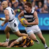 Four goals from Gary Rohan and three from Gary Ablett drove Geelong's win.