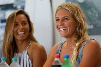 Stephanie Gilmore (right) and Sally Fitzgibbons have locked in Olympic places at the Tokyo Games.